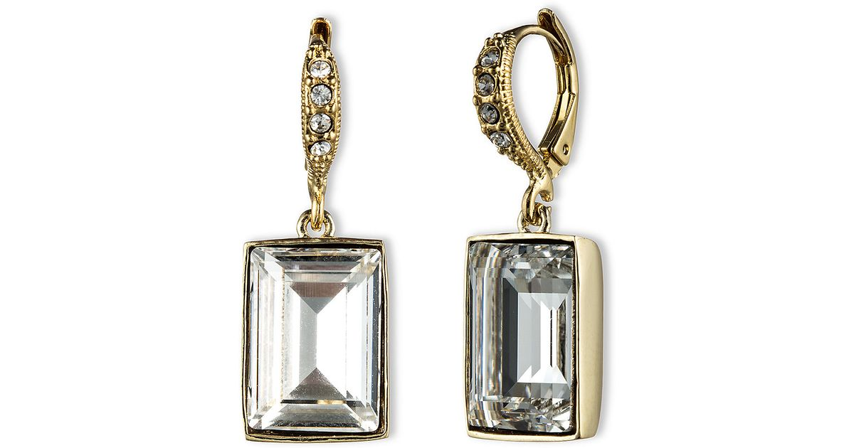 f4f876082 Givenchy Square Swarovski Crystal Drop Earrings in Metallic - Lyst