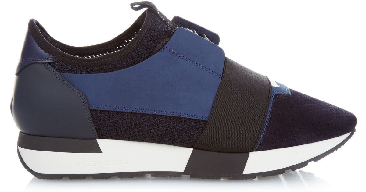 balenciaga race multi panel low top trainers in blue lyst. Black Bedroom Furniture Sets. Home Design Ideas
