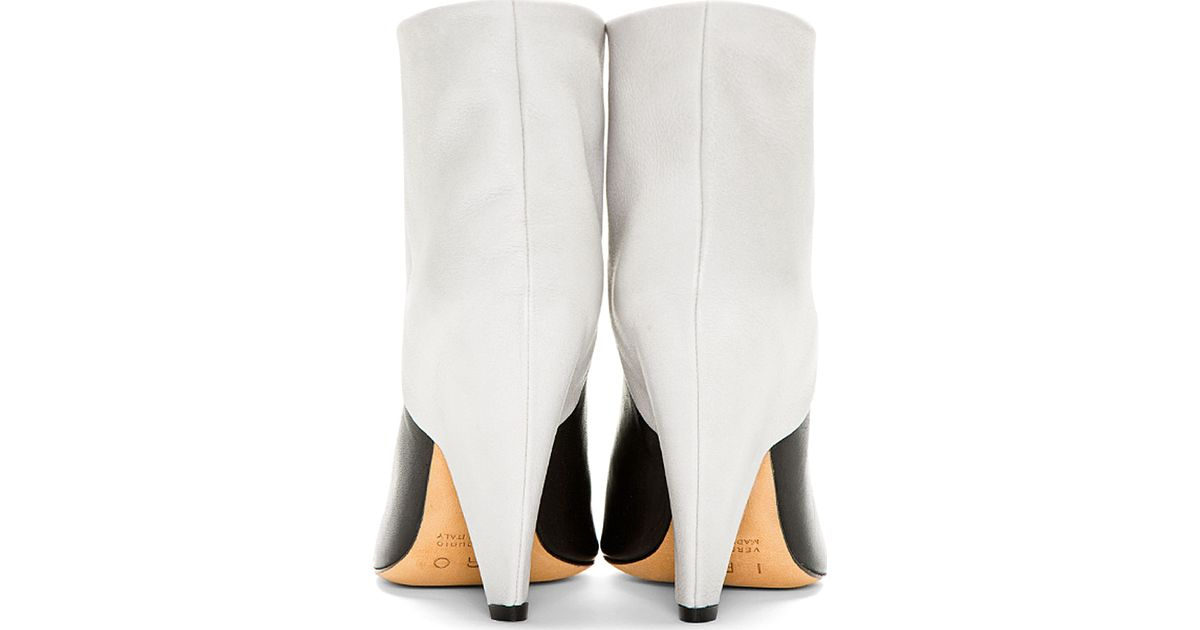 Grey Leather Cone Heel Ankle Boots - Lyst