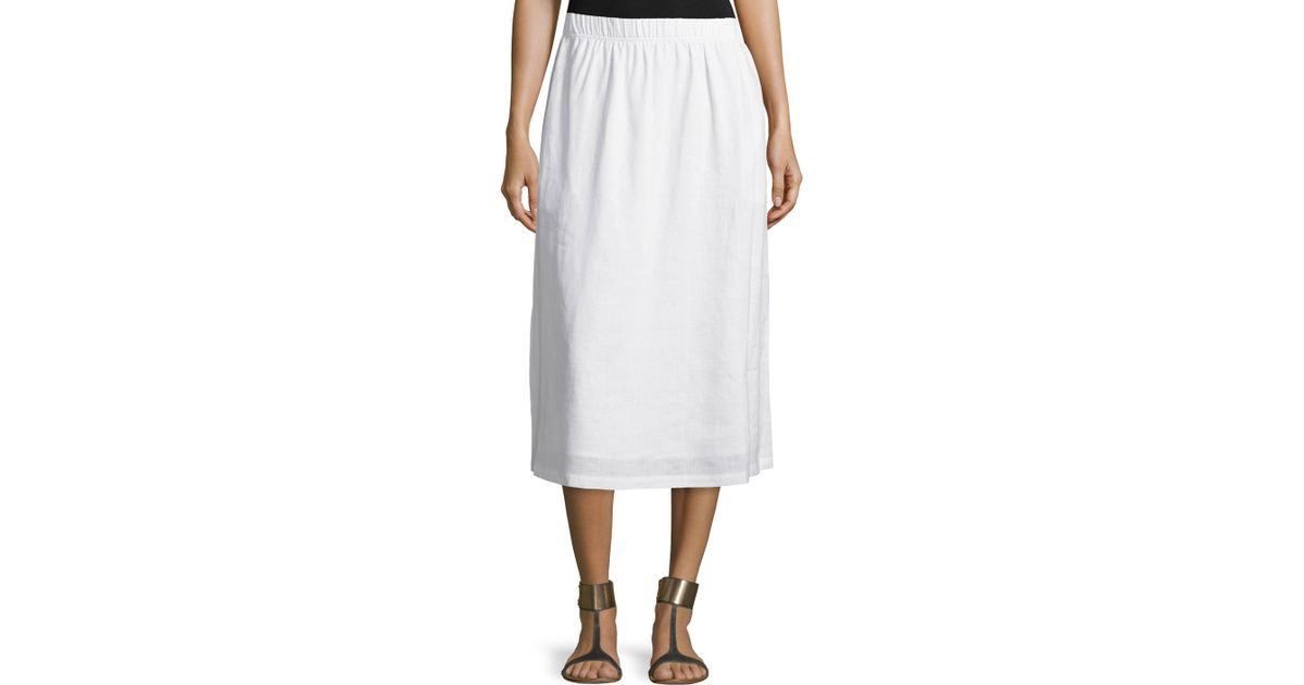 neiman linen a line midi skirt in white save 38