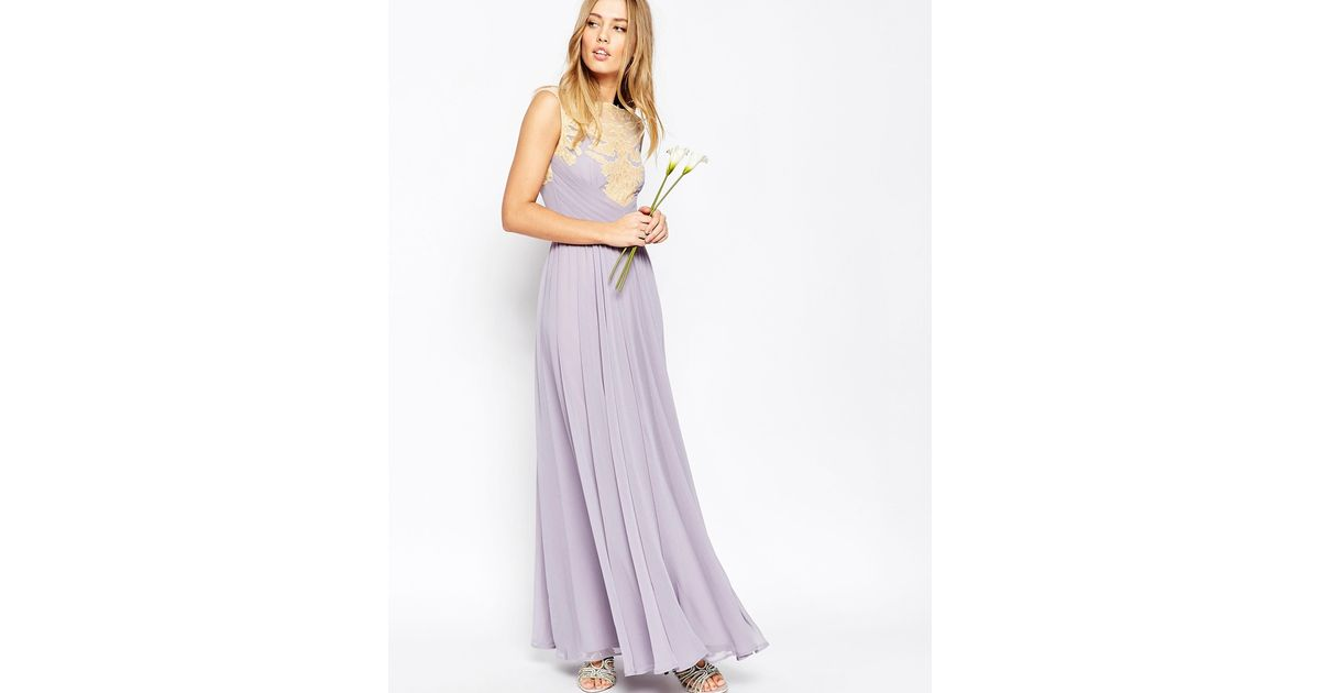 Asos Wedding Lace Applique Maxi Dress In Purple Lyst