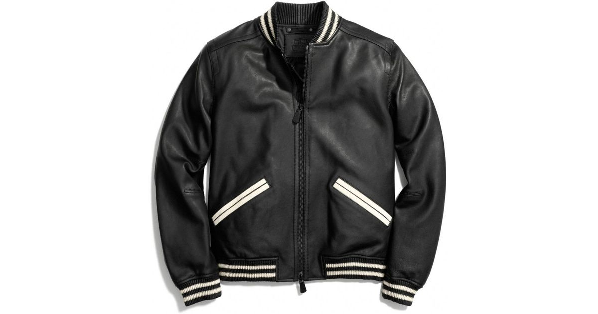 Coach Leather Baseball Jacket in Black for Men | Lyst