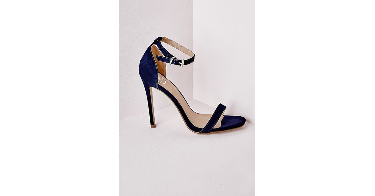 653b838cb47c Missguided Barely There Heeled Sandals Navy Faux Suede in Blue - Lyst