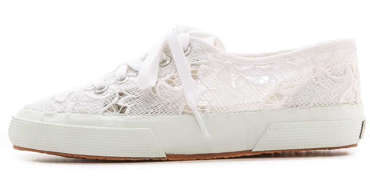 Superga Lace Sneakers in White - Lyst