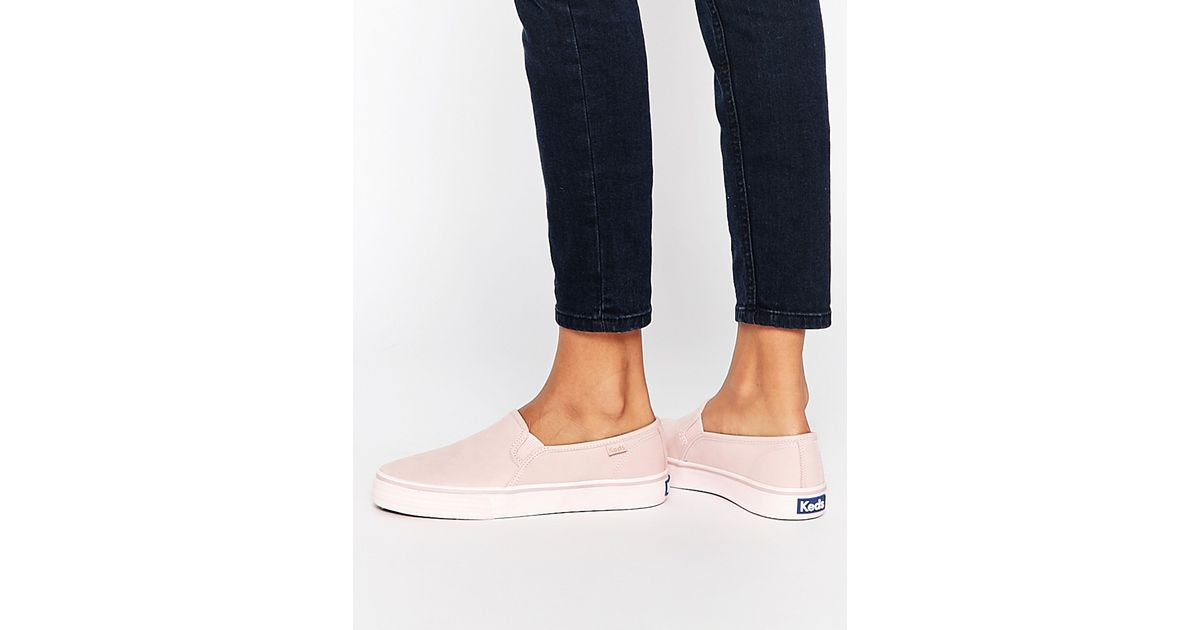 Keds Double Decker Washed Leather Pale