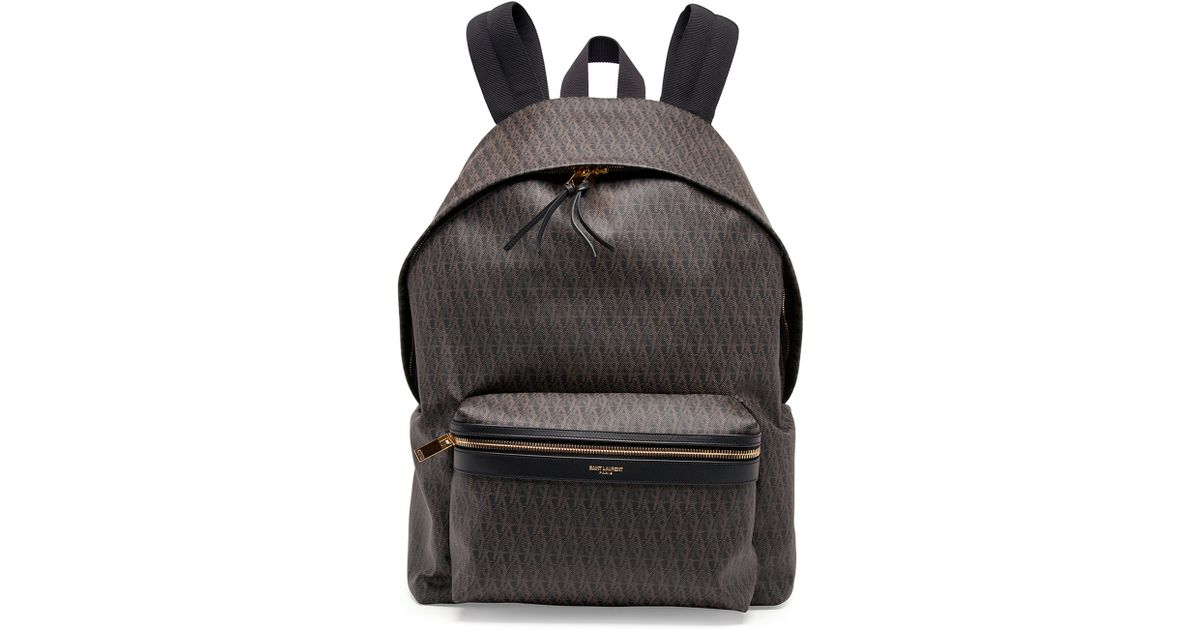 Saint laurent Mens Ysl Logo-printed Leather Backpack in Brown for ...