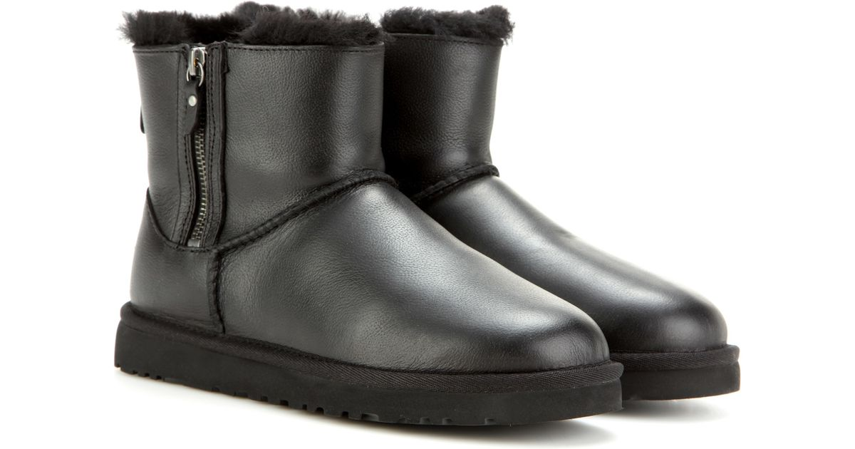 fceab496615 UGG Black Classic Mini Double Zip Leather Ankle Boots