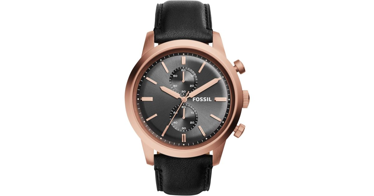 4dd12261f Lyst - Fossil Men's Chronograph Townsman Black Leather Strap Watch 48mm  Fs5097 in Pink for Men