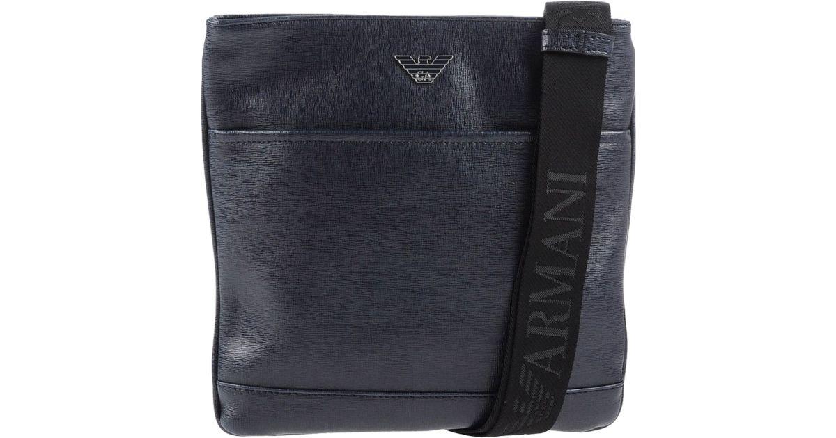 e4d5ef4ca1264 Emporio Armani Leather Cross-Body Bag in Blue for Men - Lyst