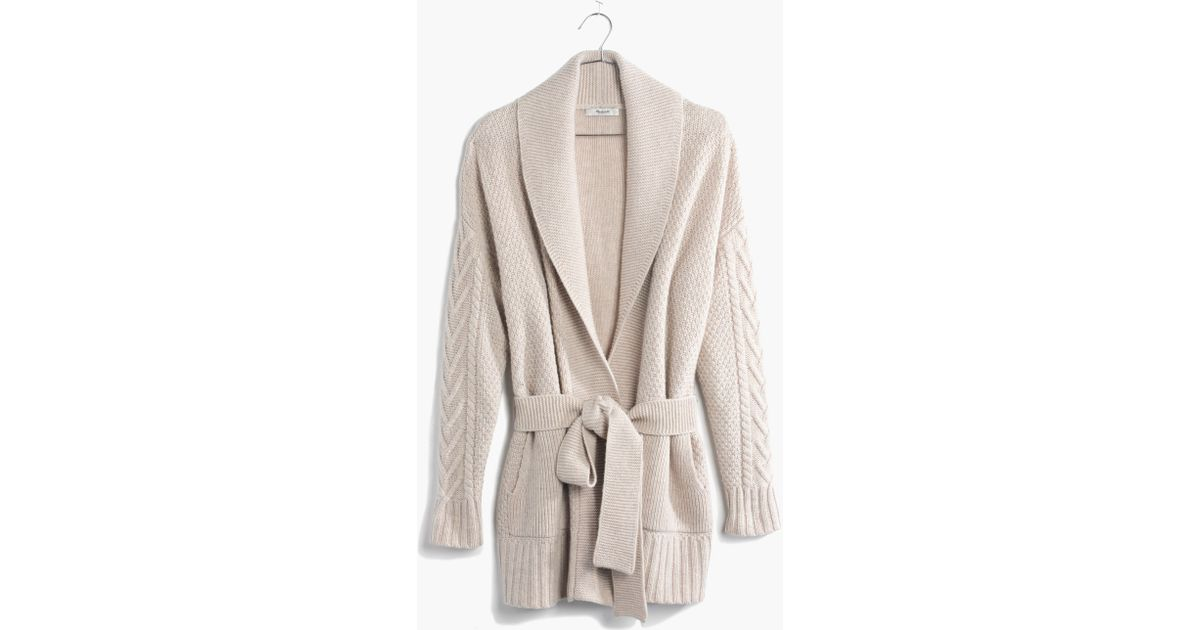 Madewell Shawl-Collar Wrap Cardigan Sweater in Natural | Lyst