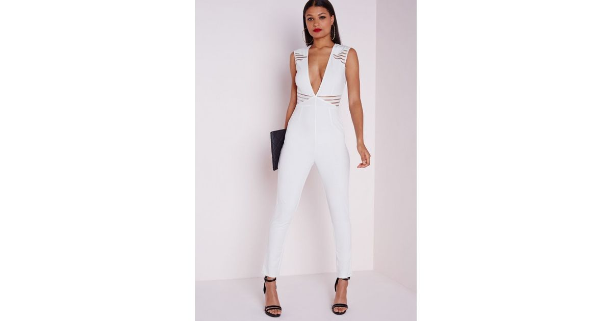 6eb078263a2b Lyst - Missguided Cut Out Plunge Jumpsuit White in White