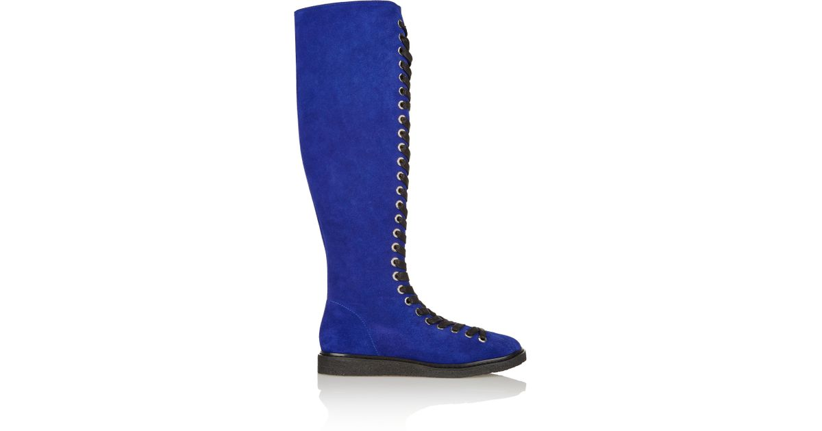 Alexander wang Emmanuel Lace-up Suede Knee Boots in Blue ...