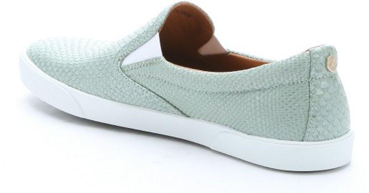 3608fc7ccfa Lyst - Jimmy Choo Aloe Snake-effect Leather  demi  Slip-on Sneakers in Blue