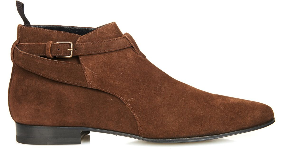 laurent ankle suede chelsea boots in brown for