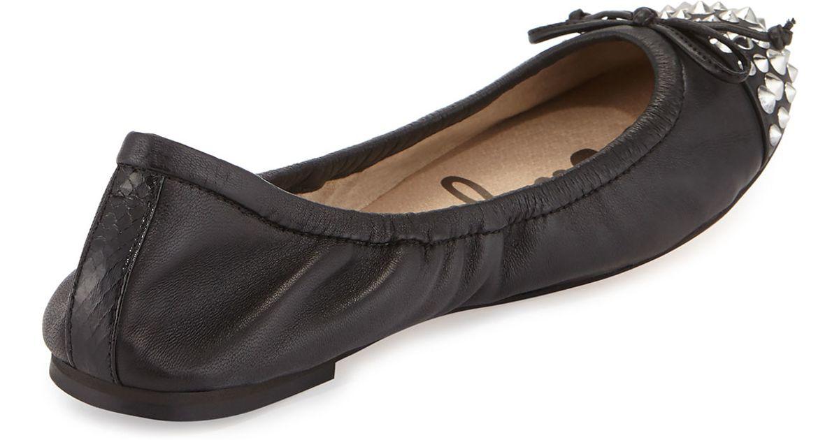 fe98cd4688c839 Lyst - Sam Edelman Bari Studded Bow Flat in Black