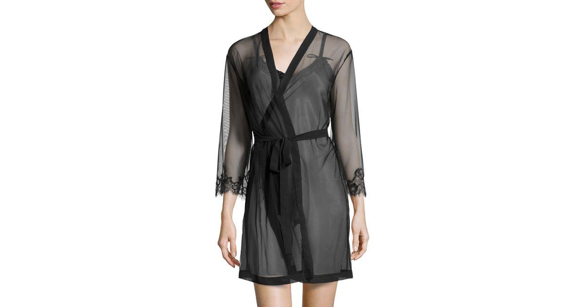 05a440bd43 Lyst - Oscar De La Renta Sweet Seduction Mesh Robe in Black