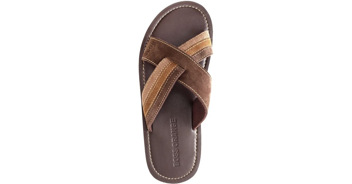 Boss Orange Sandals Sietto in Suede in Brown for Men - Lyst 96ff391716b