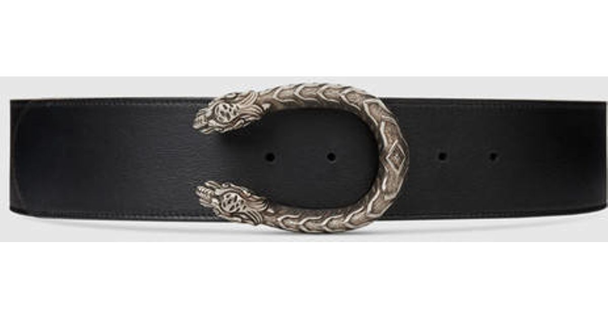 b36371b7e6647a Gucci Leather Belt With Tiger Head in Black - Lyst