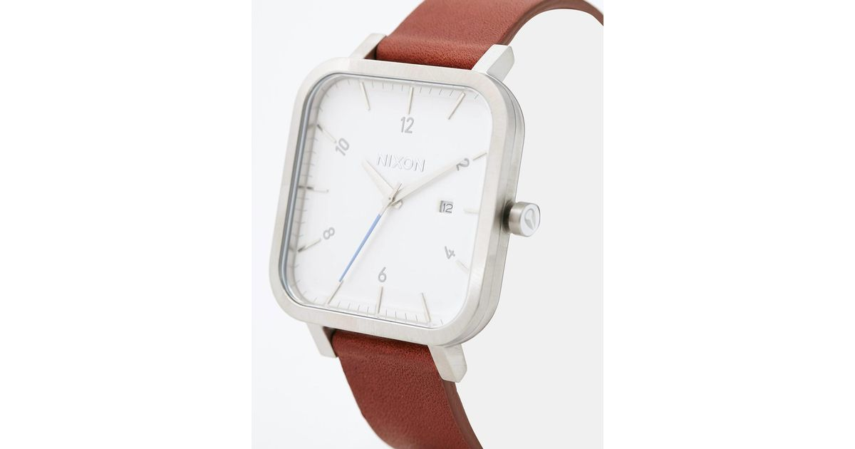 Nixon Ragnar Square Leather Strap Watch A939 In Metallic