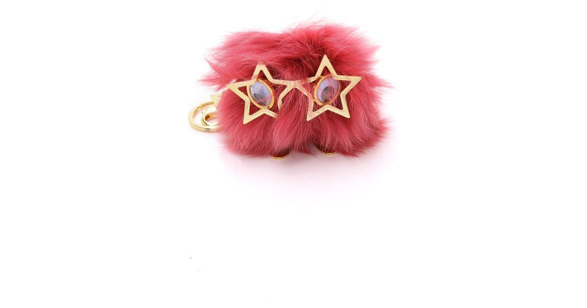Lyst - Sophie Hulme Large Star Glasses Pom Pom Bag Charm - Black in Pink 95873ba901764
