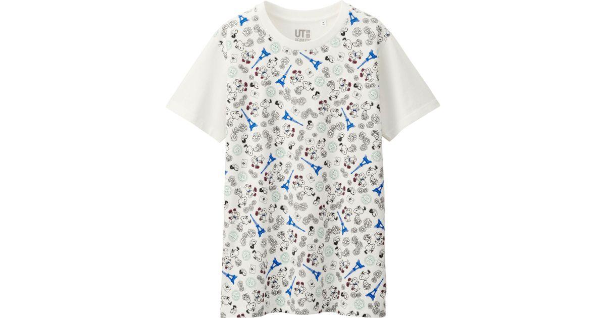 6f4cc291892cc Lyst - Uniqlo Women Peanuts Short Sleeve Graphic T-shirt in White
