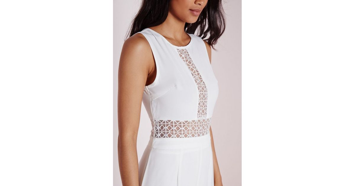 f4b8796bf874 Missguided Lattice Insert Culotte Jumpsuit White in White - Lyst