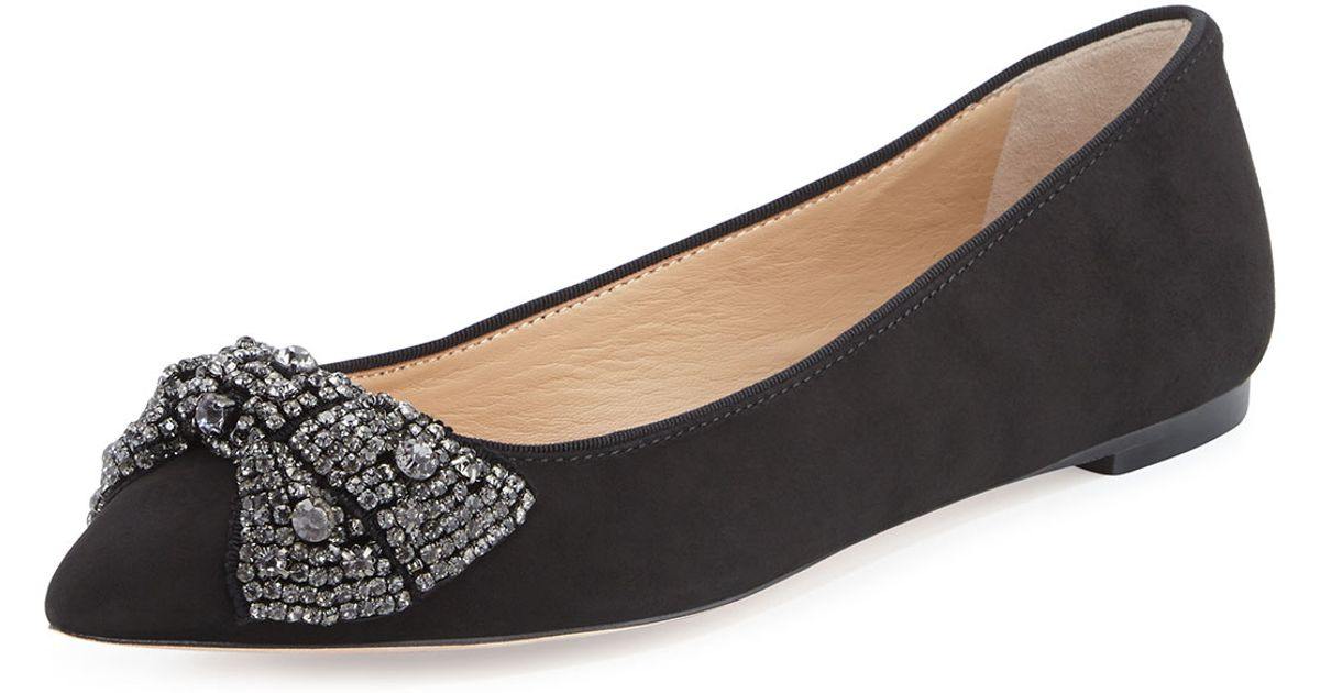 7f0792ce3ce14 Lyst - Tory Burch Vanessa Suede Crystal-Bow Flat in Black