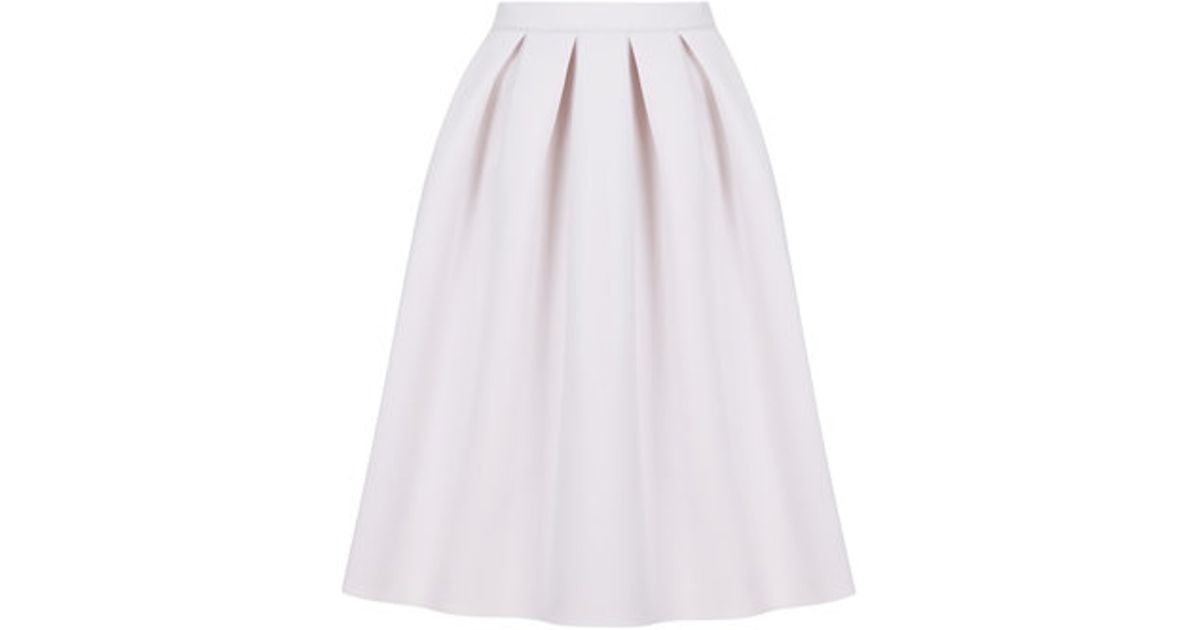 Topshop Jersey A-line Midi Skirt in Pink | Lyst
