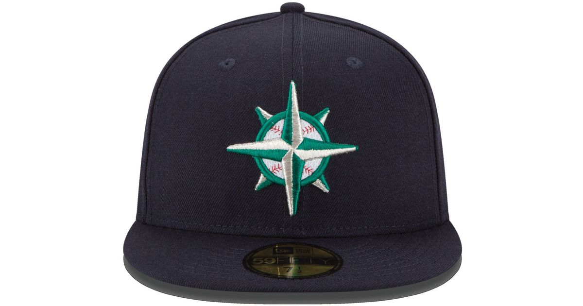 c7ad1a51 KTZ Blue Seattle Mariners Logo Lush 59fifty Cap for men