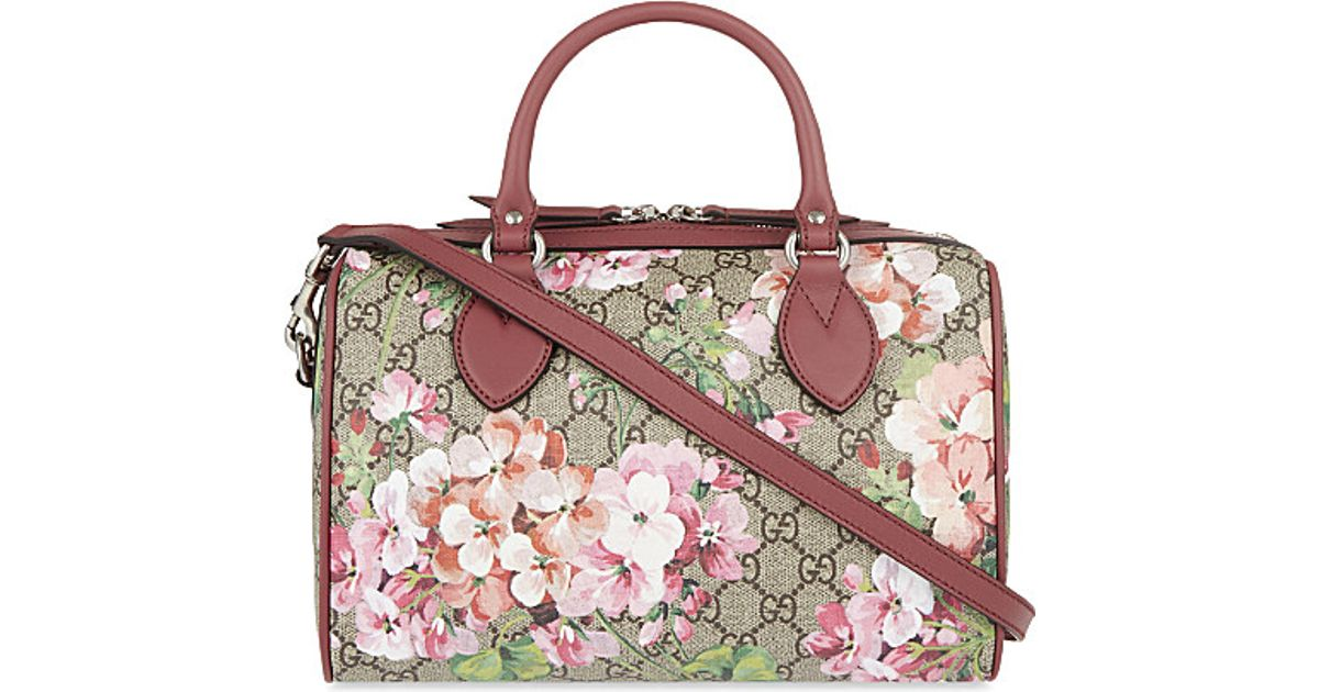 Lyst gucci floral print canvas bowling bag in pink mightylinksfo