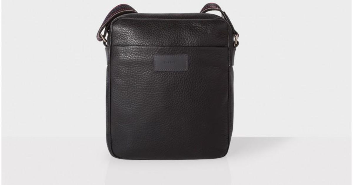 7ded2a963295 Lyst - Paul Smith Men s Black Leather  city Webbing  Small Cross-body Bag  in Black for Men