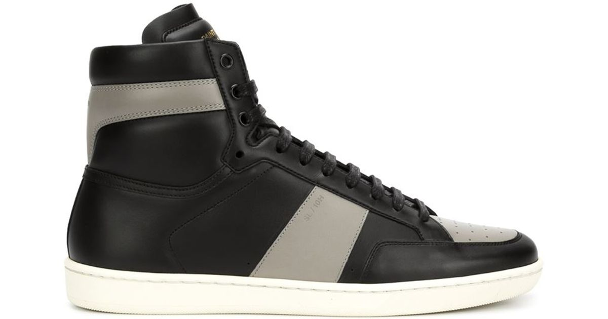 76a8ba0133957 Saint laurent Court Classic Leather High-top Sneakers in Black for Men