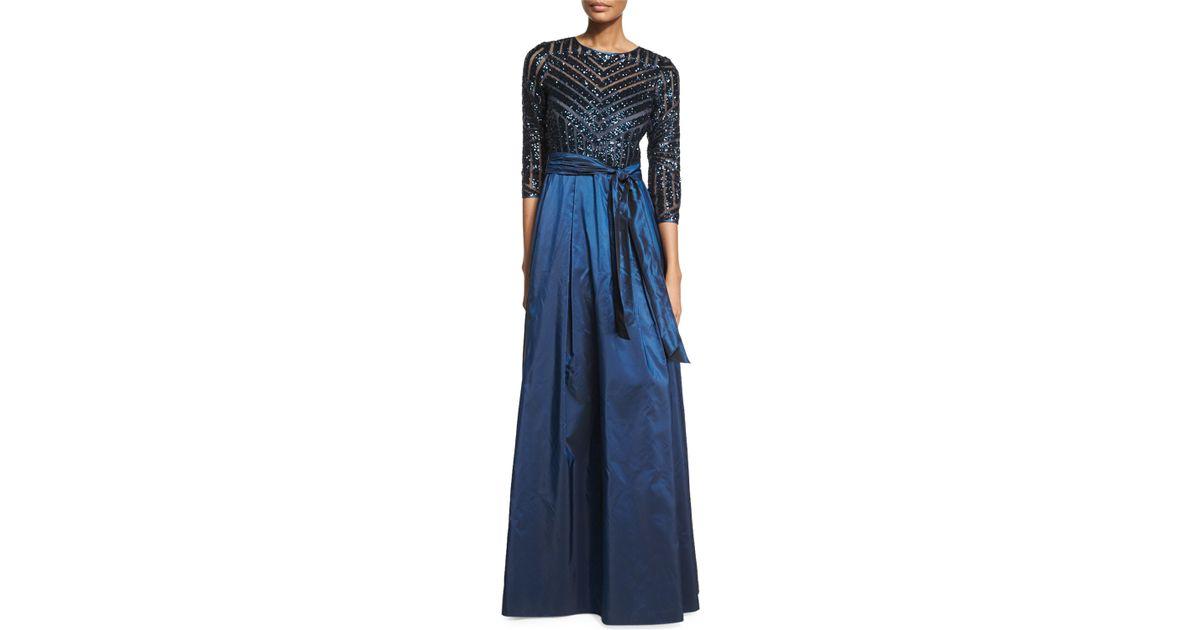 5f521e8d6b3b Lyst - Teri Jon 3 4-sleeve Sequined   Taffeta Gown in Blue