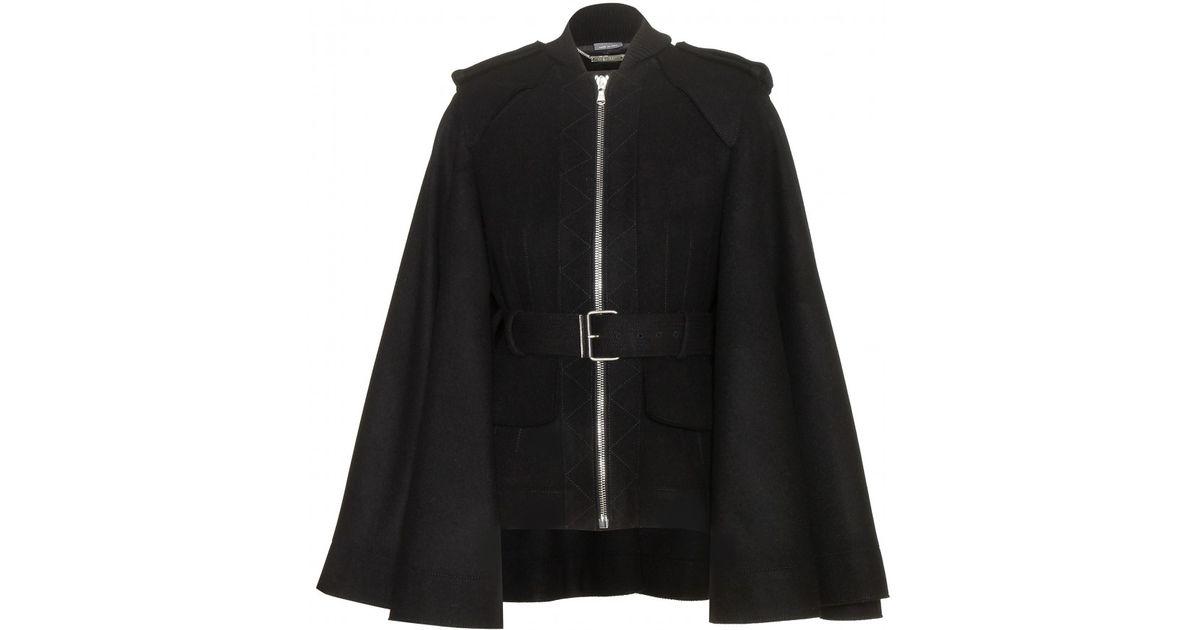 Alexander mcqueen Wool Cape Coat in Black | Lyst