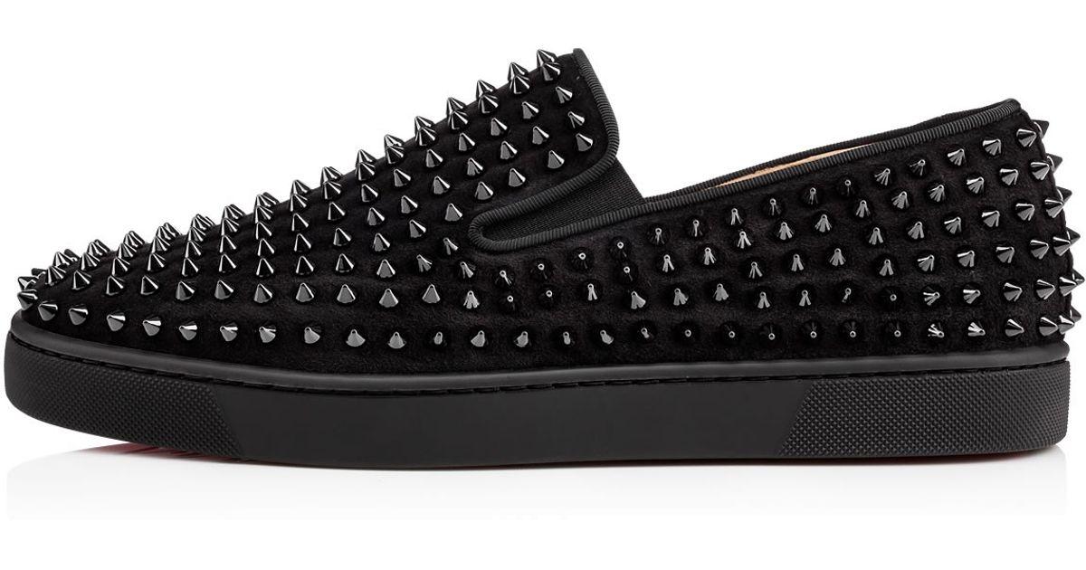 af945e04067 christian louboutin roller boat spikes leather flat black