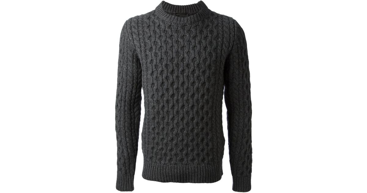 6d4c75add86 Diesel Black Gold Gray Cable Knit Sweater for men