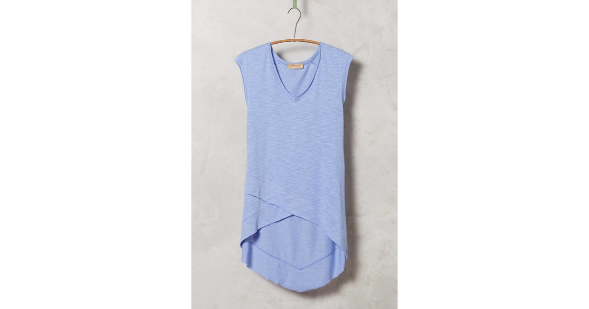 anthropologie crossover tunic tee in purple lyst