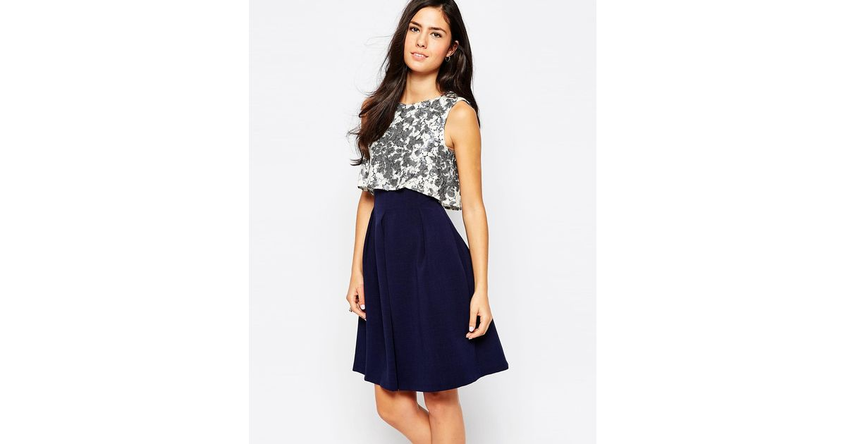 closet dress with sequin top and pleat skirt in blue lyst
