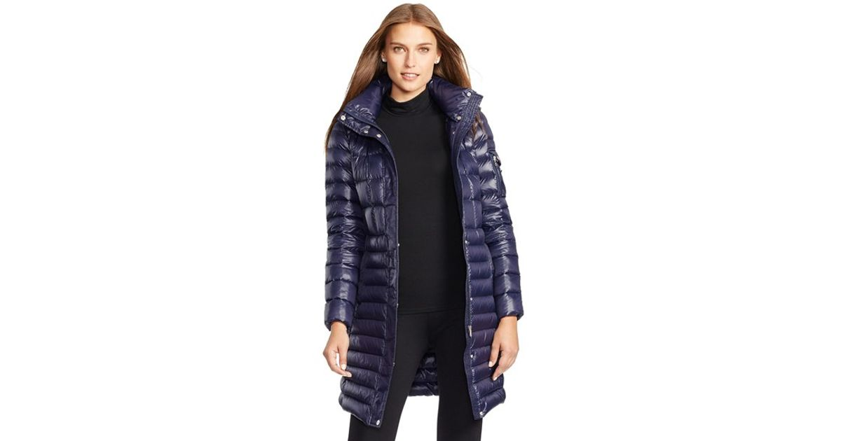 db2fb3dbc Lauren by Ralph Lauren Combo Quilt Packable Down Coat With Removable Hood,  Blue