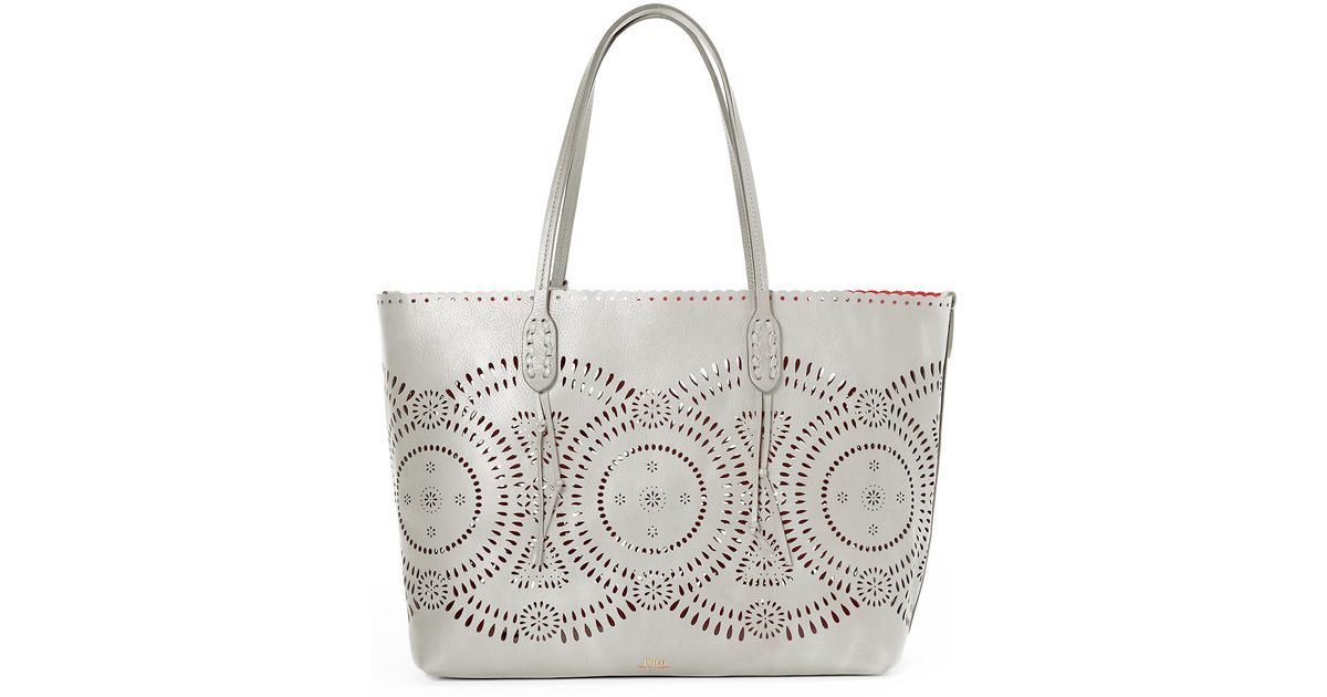 f0cff65bdc Lyst - Polo Ralph Lauren Laser-cut Leather Tote