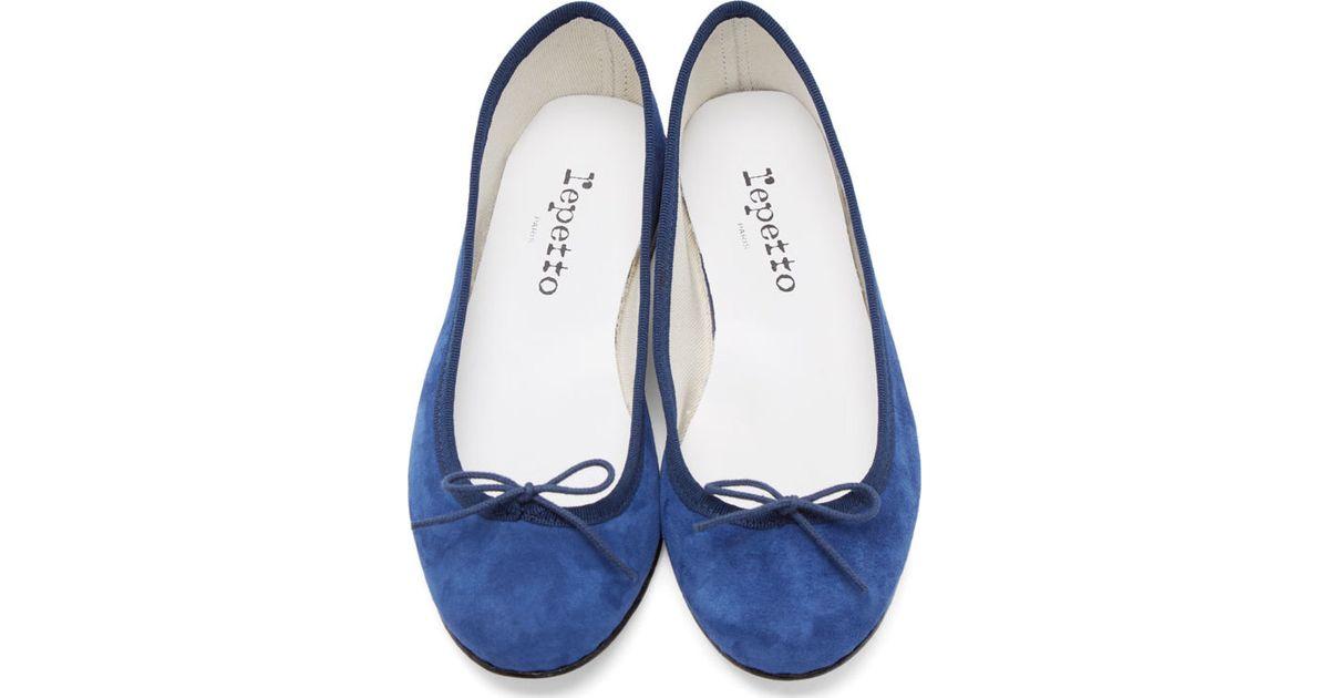 48c713deeb9 Lyst - Repetto Navy Goatskin Suede Cinderella Flats in Blue