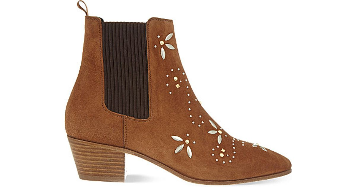 Discount Maje Boots Suede Camel