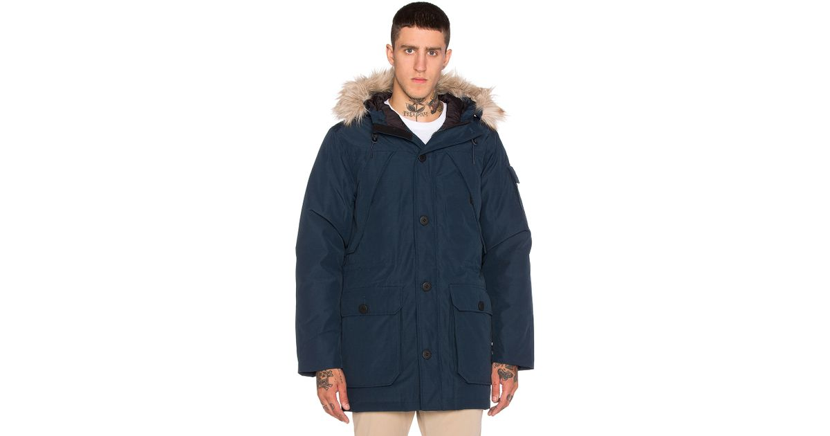 Penfield Blue Hoosac Hooded Down Mountain Parka With Faux Fur for men