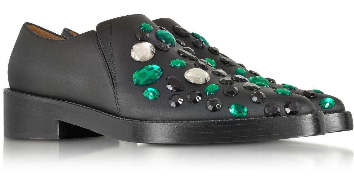Loafer Black Embroidered Wemerald Beads Marni Leather RAq54jL3