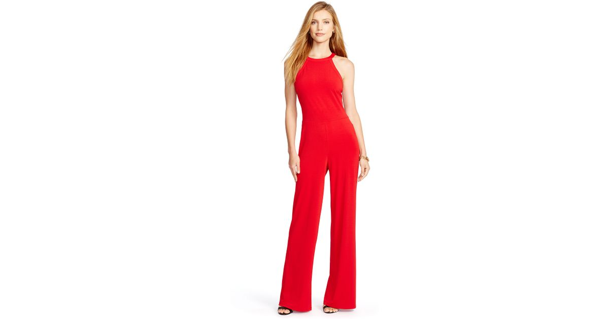Ralph lauren Sleeveless Wide-leg Jumpsuit in Red | Lyst