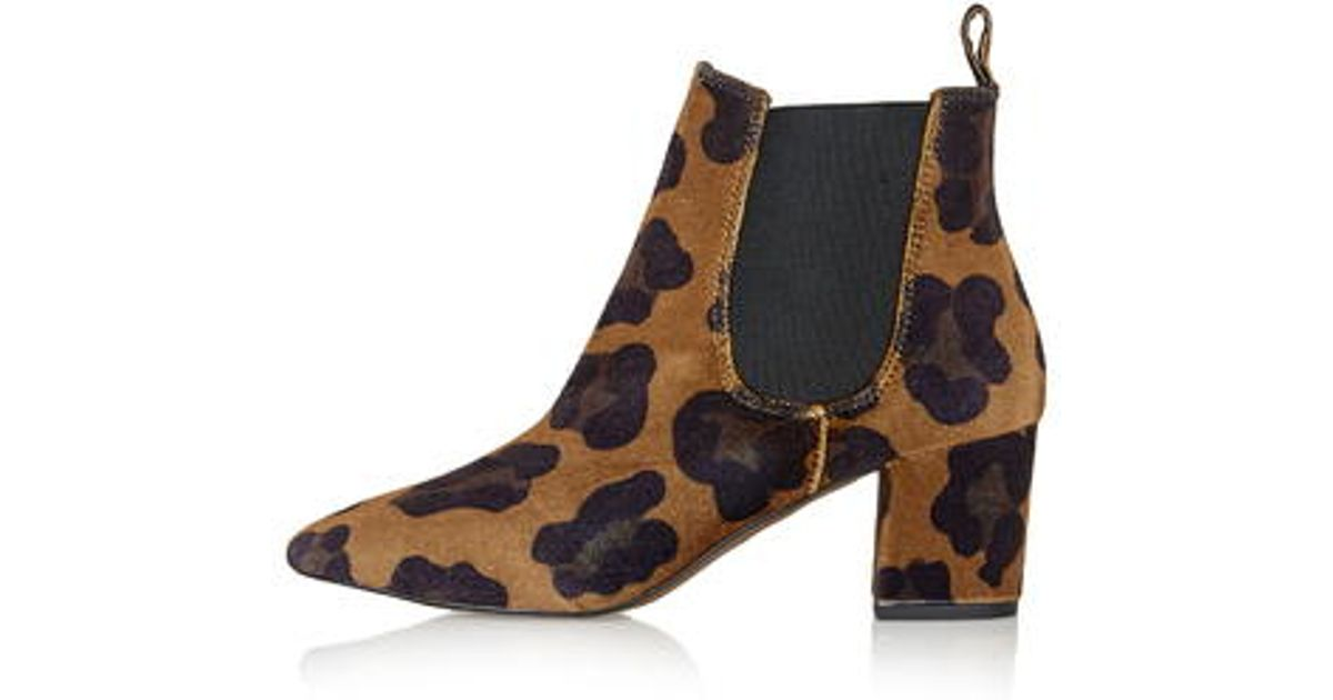 TOPSHOP Mary Leopard Print Ankle Boots