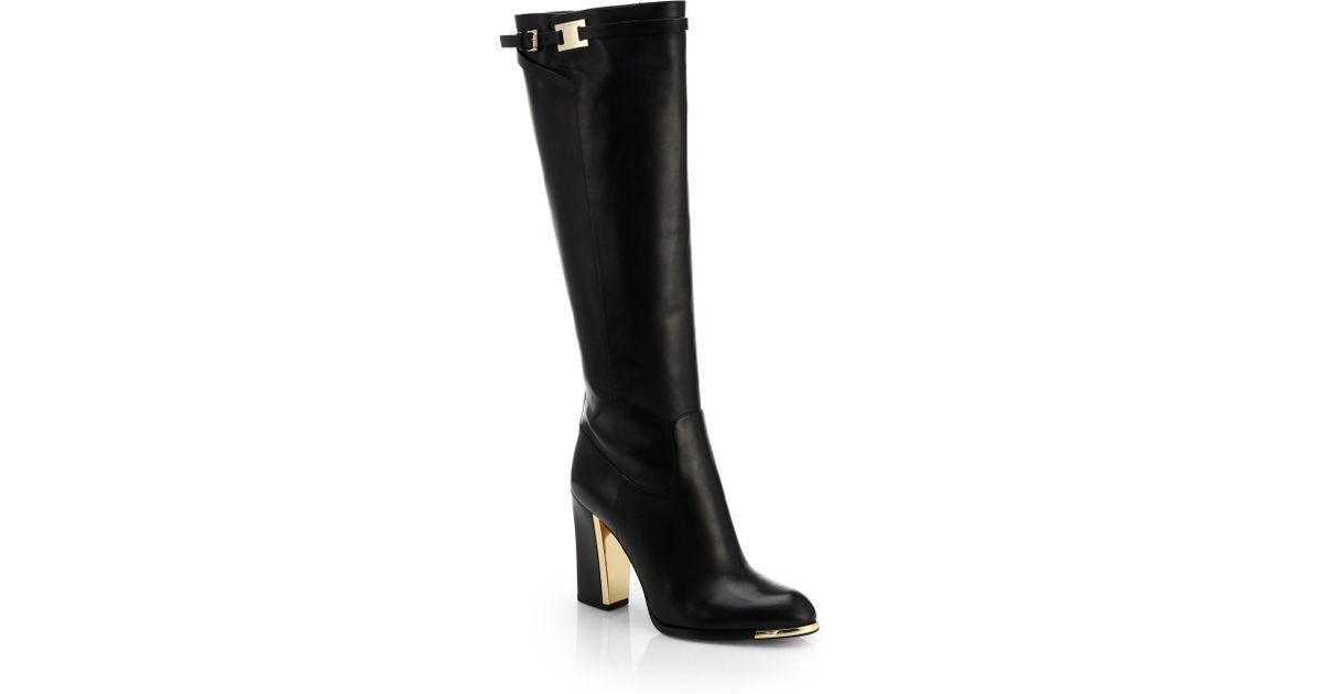 varm försäljning detaljerade bilder online-återförsäljare Michael Kors Julie Leather Knee-High Boots in Black - Lyst