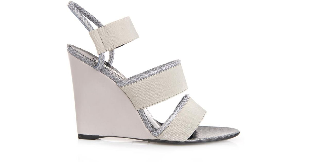 22aa3bc8f6f4f Lyst - Balenciaga Gray Snakeskin Wedge in Gray