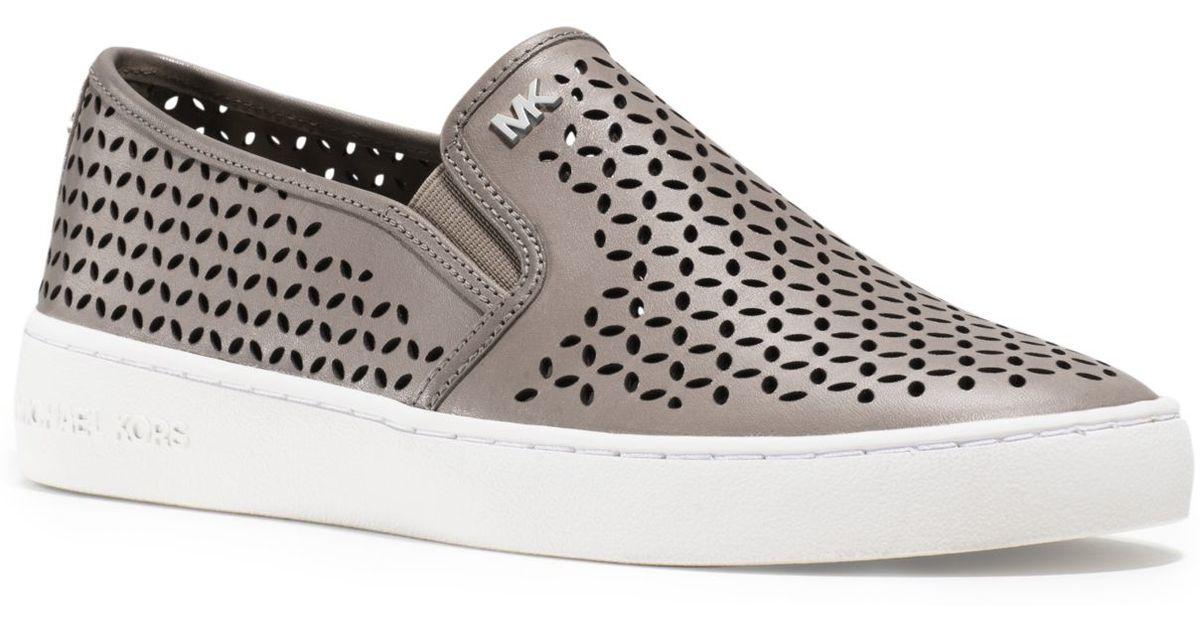 Lyst Michael Kors Olivia Leather Slip On Sneaker In White