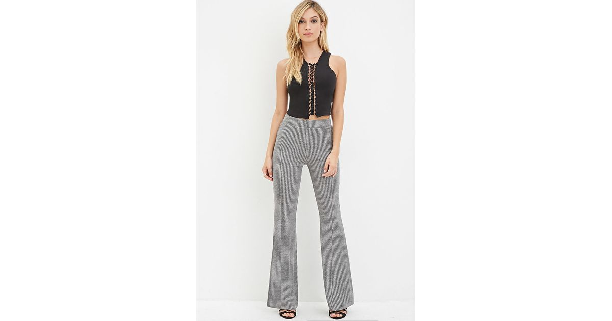 Lyst - Forever 21 Ribbed Knit Flared Pants in Gray